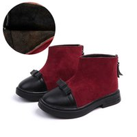 girls 13 boot UK - Girl Boot Kids Winter Boots Fashion Patchwork Boys Warm Shoes Ankle Boot Footwear 2018 #13 #27