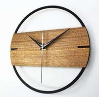 sticker 12 pouces achat en gros de-Vintage Horloge Murale Simple Design Moderne Horloges En Bois pour Chambre 3D Autocollants En Bois Montre Murale Décor À La Maison Silencieux 12 pouces