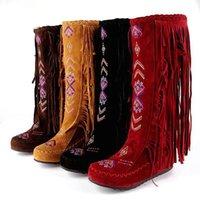 chinesische flache stiefel großhandel-Großhandel Frauen Winterstiefel Chinesischen Stil Flache Absätze Kniehohe Stiefel Vintage Frauen Quaste lange Stiefel Flock Frauen Schuhe