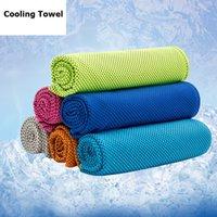 спортивная ткань из микрофибры оптовых-Охлаждающее полотенце спортивное полотенце из микрофибры ткань ледяной холод прохладный холодный полотенце быстросохнущие тренажерный зал пот лето охлаждения мочалкой 6 цветов 100x30cm