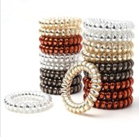 Wholesale metal rubber band hair - Metal Color Telephone Wire Line Elasticity Rubber Band Elastic Hairbands Hair Rope For Gils Scrunchy Headbands Gum Spring