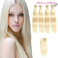Wholesale russian hair extension wefts for sale - Group buy Brazilian Virgin Hair Extensions Blonde Colored Straight European Russian Remy Hair Wefts Bundles With X4Inch Lace Closure