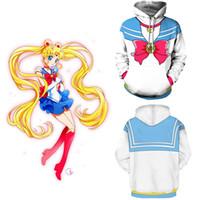 Tamaño asiático Japón Anime Sailor Moon Usagi Tsukino Cosplay de Halloween  Unisex Disfraz de béisbol Capa de la chaqueta Con capucha 1655315c830e