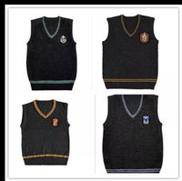 Wholesale sweater school - Harry Potter Sweater V Cos Neck Sweater High Quality Magic School Waistcoat uniforms Gryffindor Slytherin Ravenclaw Cosplay