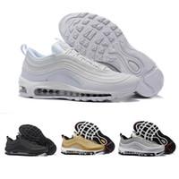 online store b78a3 4c51d Nike Air Max 97 Airmax 97 OG Tripel Blanc Métallique Or Argent Bullet 97  Meilleur qualité BLANC 3 M Premium Chaussures de Course avec Boîte Hommes  Femmes ...
