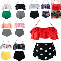 bikinis schick großhandel-Frauen Retro Boho Volant High Waist Bikini Set Chic Badeanzug 2 Stück Anzug Bademode Bikini gepolsterter BH HH7-1139