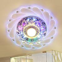 levou luz de teto cozinha 3w venda por atacado-Modern LEVOU Luz de Teto de Cristal Circular 3 W 5 W Mini Lâmpada Do Teto Luminarias Rotunda Luz Para Sala de estar Corredor Corredor Da Cozinha