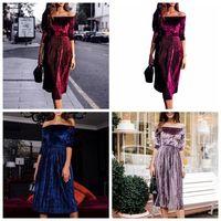 Wholesale loose velvet dress - Women Off Shoulder Velvet Dress Ladies Evening Party Loose Dress Tunic Sundress Vintage Shirt Party Dress OOA3936
