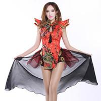 çinli elmas takıları toptan satış-Seksi Retro Çin Cheongsam Elbise Kadın Akşam Baskılı Kostüm Kırmızı Rhinestones Dans Kıyafet Sıska Mini Elbiseler DJ Kutlamak