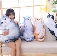 almohadas anime gato al por mayor-Encantador Creativo Gato de Dibujos Animados Almohada Decorativa Cuerpo Almohada Lindo Anime Gatos Almohadas Lavable Cintura Almohada Lindo cojín del asiento