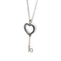 yüzen kalp kolye toptan satış-Sevgililer Günü Yüzer Locket Kalp Anahtar Kolye 925 Ayar Gümüş Takı Kolye Kolye Kadın Için Avrupa Takı Yapımı
