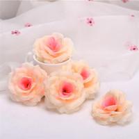 ingrosso crema artificiale-100 pz crema avorio seta artificiale camelia rosa peonia testa di fiore 7-8 cm decorazione del partito testa di fiore artificiale decorazione di cerimonia nuziale