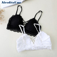 Wholesale white lace bra top - AfroditaUme Lace Padded bras bralette Sexy Strappy bra Female Women Wirefree Underwear crop top Lingerie Brassiere