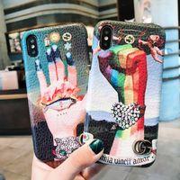 пальмовые телефоны оптовых-Для iPhone X XS XR Max Роскошный кожаный чехол для телефона Для iPhone 8 7 6 6S Плюс мода Кожаный чехол для мобильного телефона Palm Известная задняя крышка для телефона
