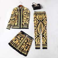 Wholesale Three Piece Long Skirt - European and American women's wear 2017 The new winter Vintage print shirt + pleated skirt + pants three-piece suits