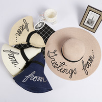 Sombreros De Las Señoras Para El Sol Caliente Baratos-Moda ancho Brim summer beach sun sombreros para mujeres Carta Bordado sombreros de paja sombreros ladies girl sunscreen big plegable sombreros vacaciones venta caliente