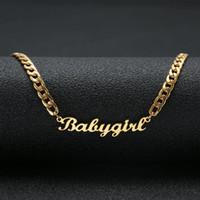 """ingrosso grande corda in oro 14k-Lovely Gift Gold Color """"Babygirl"""" Nome Collana Acciaio inossidabile Targhetta Choker Scrittura a mano Collana per le ragazze"""