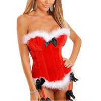 Wholesale women halloween costumes santa - Christmas Sexy Corsets for Women Santa Bustier Corselet Overbust Corset Bow Halloween Costume HarnessFeathers Steel Boned