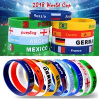 Wholesale wholesale sports souvenir gifts - 2018 FIFA World Cup Silicone Bracelet Country Flag Football Rubber Sports Fans Wristband Fans Souvenir FIFA Gifts EEA254