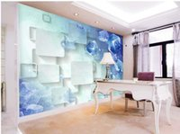 moderner tapetenverkauf groihandel-Großverkauf der Fabrik Blaues Quadrat 3D TV Hintergrund Wandbild 3D Wallpaper moderne Tapete für Wohnzimmer