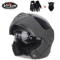 fashion double lens flip up motorcycle helmet motocross full face fit for men women