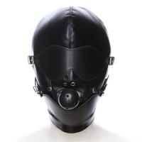 boğa başı bdsm toptan satış-SM Maske Kölelik Restraint Hood Maske Seks Oyuncakları Başlık Ağız Topu Gag BDSM Ile Erotik Yetişkin Oyunları Için PU Deri Seks Hood