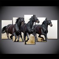 cuadros abstractos caballos corriendo al por mayor-5 piezas de pared de la lona del arte de imágenes marco de la decoración del hogar negro caballos ejecutando pinturas para sala de estar impresiones de hd abstracto carteles