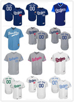 Wholesale white girl s - custom Men's women youth Majestic LA Dodgers Jersey #00 Any Your name and your number Home Blue Grey White Kids Girls Baseball Jerseys