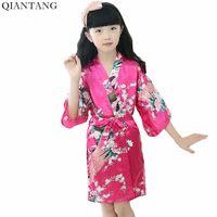 nachthemd heißes mädchen großhandel-Hot Pink Baby Mädchen Kimono Bademantel Kind Nachthemd Faux Silk Nachtwäsche Kind Nachthemd Pijama Größe 4 6 8 10 12 XTZ-806