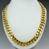 Wholesale Solid 18k Wedding Rings - 18k gold Filled mens solid Heavy chain long Necklace curb ring link jewell N224