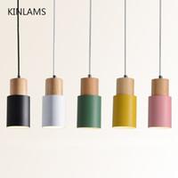 art deco küche licht großhandel-Designer nordische einfache hölzerne hängende Lichter führten hängende Lampe bunte Aluminiumbefestigung Küchen-Inselbarhotel-Wohngestaltung E27