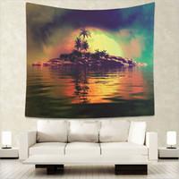 ingrosso paesaggio blu albero-Palm Tree Arazzi Paesaggio Wall Hanging Shell Tropical Yoga Decor Lago copriletti d'acqua Cielo blu grande tessuto personalizzato