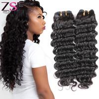 precio cabello virgen chino al por mayor-ZSF Mejor Precio Sin Procesar Brasileño Virginal Chino Brasileño 4 Paquetes Extensiones de Cabello de Onda Profunda Paquetes de Cabello Humano