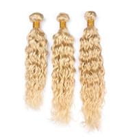 Wholesale wet wavy human hair extensions resale online - Pure Color Blonde color Hair Water wave Hair Extensions Blench Blonde Wet and wavy Human Hair Bundles