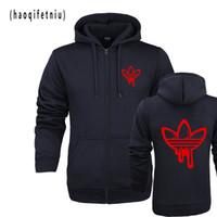 Wholesale man blue hoody resale online - Fashion Men Hoodies doodle Print Hoodies Sweatshirt Men Hip Hop Fleece Solid Black Hoody M XL