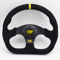 spiele rennen großhandel-Wildleder Schwarz 13inch Flat Game OMP Lenkrad Racing Rallye Drift Sport Lenkrad Mit OMP Hupenknopf