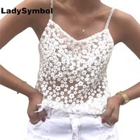 ingrosso top di organza bianca-LadySymbol White Tank Tank Top in pizzo floreale elegante Summer Beach con scollo a V Organza Sexy Camis Cute Cool Girls Girls Tank Top Girls