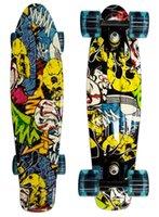 tablas de skate completos al por mayor-Al por mayor-Monopatín completo Retro Girl Boy Cruiser Mini Longboard Skate Fish Long Board 22 ''