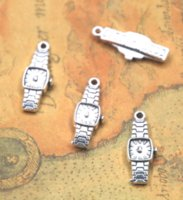 alte uhren großhandel-25pcs / lot Uhrcharme antiker tibetanischer silberner Ton alte Quarzuhr Charme-Anhänger 22X9x3mm