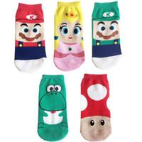 ingrosso yoshi luigi-Calze di cotone di vendita calda di modo Calze divertenti di cartone animato Super Mario Luigi Yoshi Crazy Socks Caviglia corta stile estivo