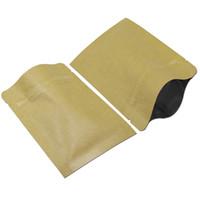 wiederverwendbare lebensmittelbeutel großhandel-50Pcs Brown Kraftpapier Self-seal Taschen wiederverwendbare Aluminiumfolie Lebensmittel Aufbewahrungstasche Multi-Größen Paket Beutel für Küche Zubehör