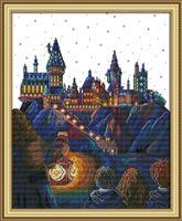 pinturas mágicas venda por atacado-Mágica Castelo cenário home decor pinturas, Handmade Cross Stitch Bordado conjuntos de costura contados impressão sobre tela DMC 14CT / 11CT