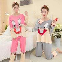 leite de leite venda por atacado-Yu44147 pijamas outono das mulheres de manga longa outono inverno leiteria leiteira vestir terno de papel fino das mulheres