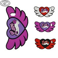 Wholesale Apple Shapes - Red White Rose Red Color Rubber Silicone Heart Angel Wing Shaped Cell Phone Case for iphone