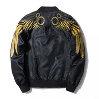ingrosso ali di design-Mens Wing Embroidery Giacche Maschile MA1 Thin Spring New Coats EAGLE WINGS Epaulet Design Bomber Jacket
