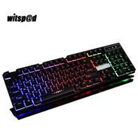 Wholesale mechanical pc keyboard - English USB Gaming keyboard 104Keys 3 Color Led Backlight Keyboard Gamer with Similar Mechanical Touch Feel for Desktop PC