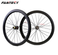 ruedas de carretera de carbono clincher al por mayor-FANTECY 700C 50mm profundidad bicicleta de carretera freno de disco ruedas de carbono 25 mm de ancho Clincher / tubular ciclocross ruedas de carbono con ejes de tracción recta