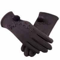 vrais gants de fourrure de lapin achat en gros de-Gants Pour Femmes Hiver Cachemire Chaud Conduite Chaud Conducteur Complet Doigt Mitaines Dentelle Crinière Doigt Complet Gants Chauds
