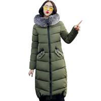 Wholesale Girls Purple Fur Coat - 2017 Winter Women Hooded Coat Fur Collar Thicken Warm Long Jacket women's coat girls long slim big fur coat jacket Down Parka