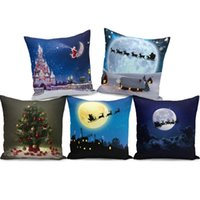 Wholesale 45x45cm Square Pillowslip Cartoon Merry Christmas Decorative Throw Pillow Case For Home Decor Sofa Cushion Cover Hot Sale zf BB
